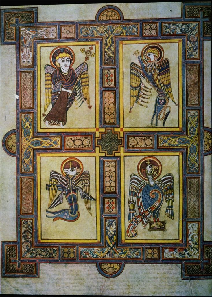 Unknown Book Of Kells Symbols Of The Four Evangelists Tempera