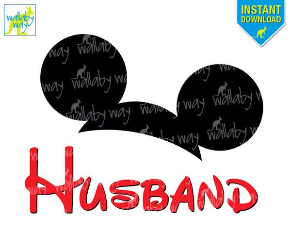 HUSBAND Mickey Ears Disney Printable Iron On Transfer or Use as Clip Art, DIY Disney Shirts, Family, Matching, Download, Disney Wedding by TheWallabyWay on Etsy https://www.etsy.com/listing/214468996/husband-mickey-ears-disney-printable