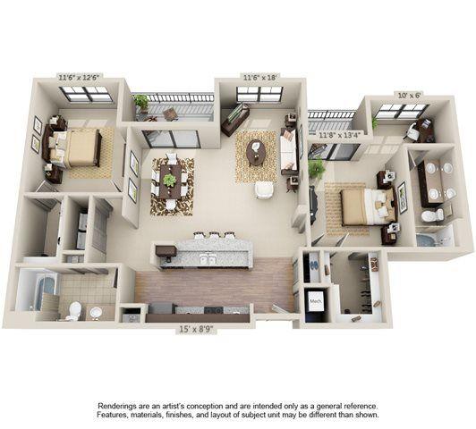 Large apartment 2 bedroom Orlando FL | House layouts ...