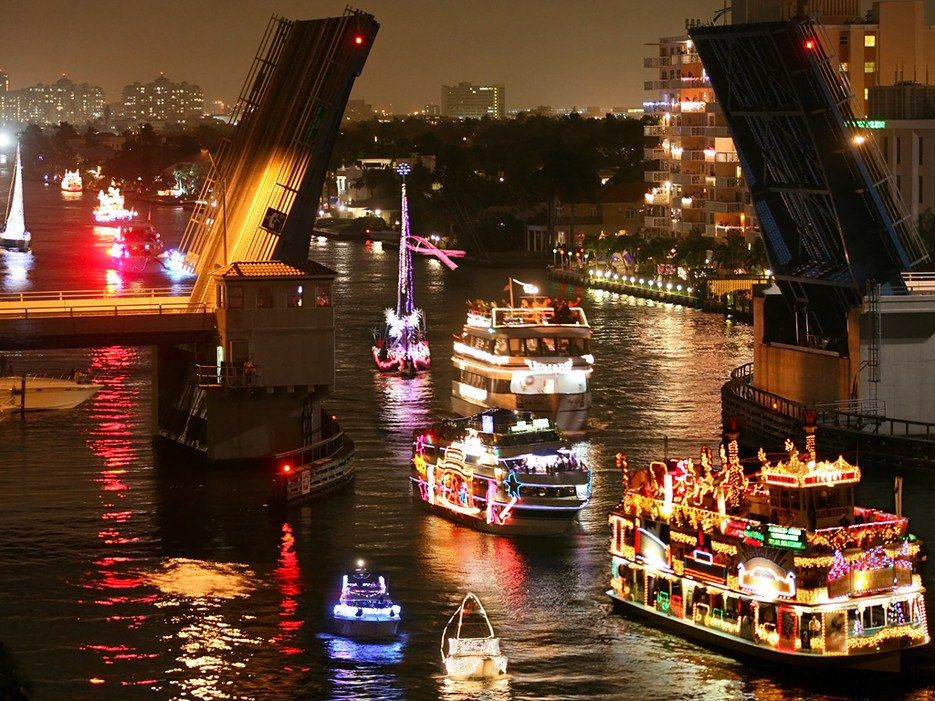 The World S Most Over The Top Christmas Parades Boat Parade Florida Christmas Florida Beaches Vacation