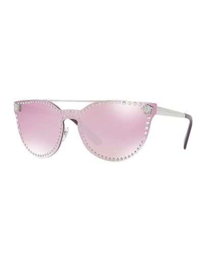 3318afebae VERSACE Studded Flat-Top Wrap Sunglasses