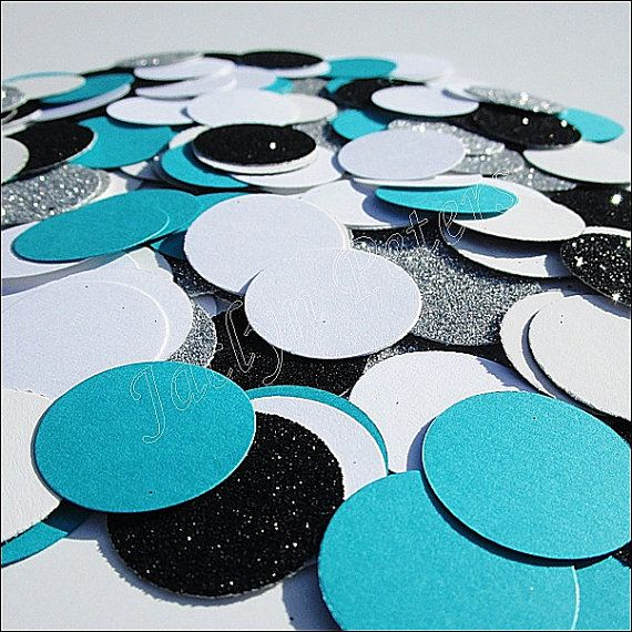 Turquoise Blue, Black, White And Silver, Glitter Confetti, Party Table…