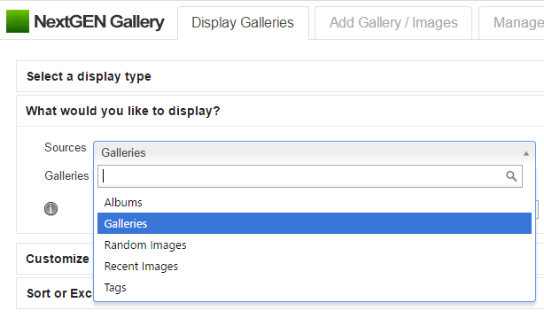image gallery tags