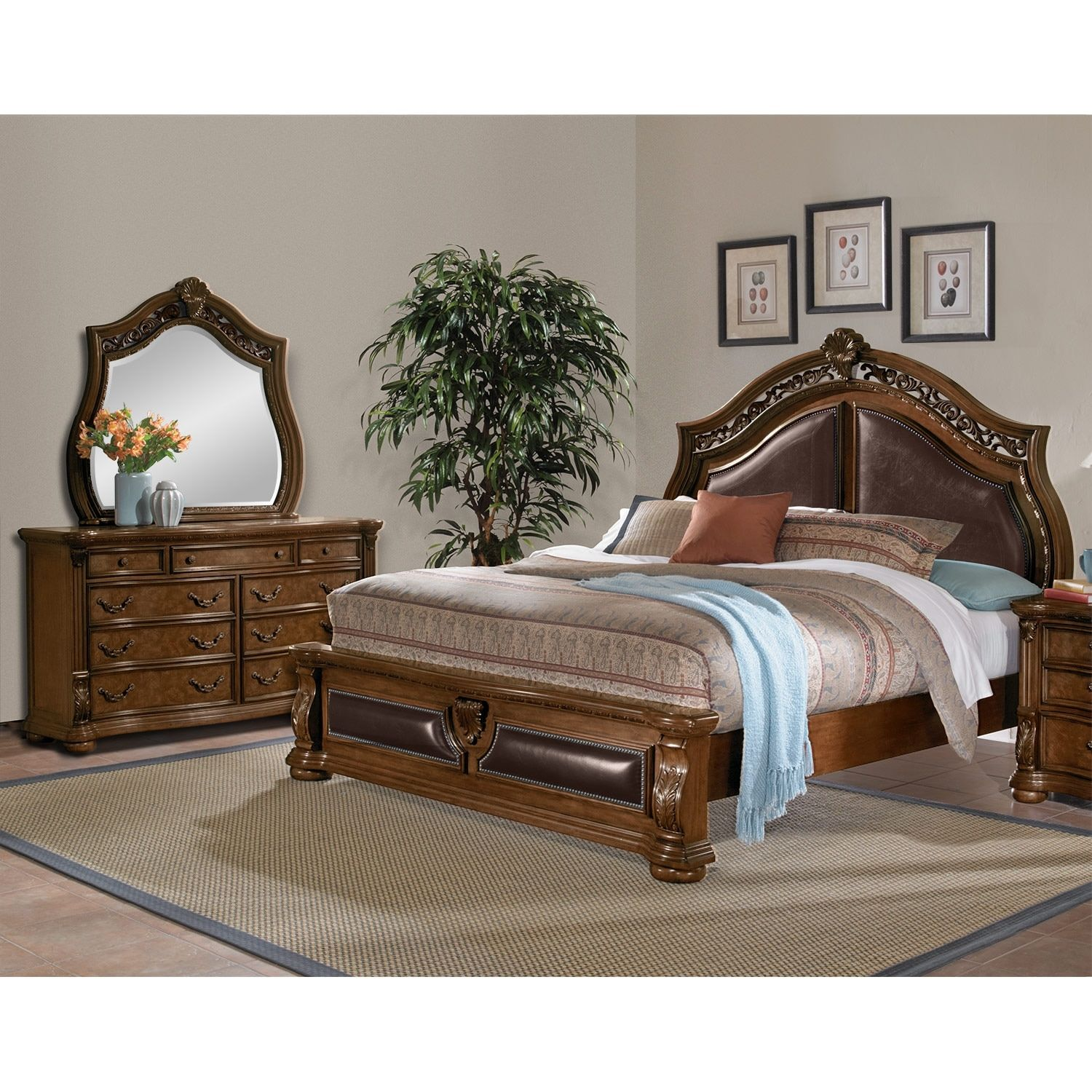Genial Morocco 5 Piece King Upholstered Bedroom Set   Pecan