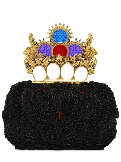 Alexander McQueen Embroidered Knucklebox Clutch