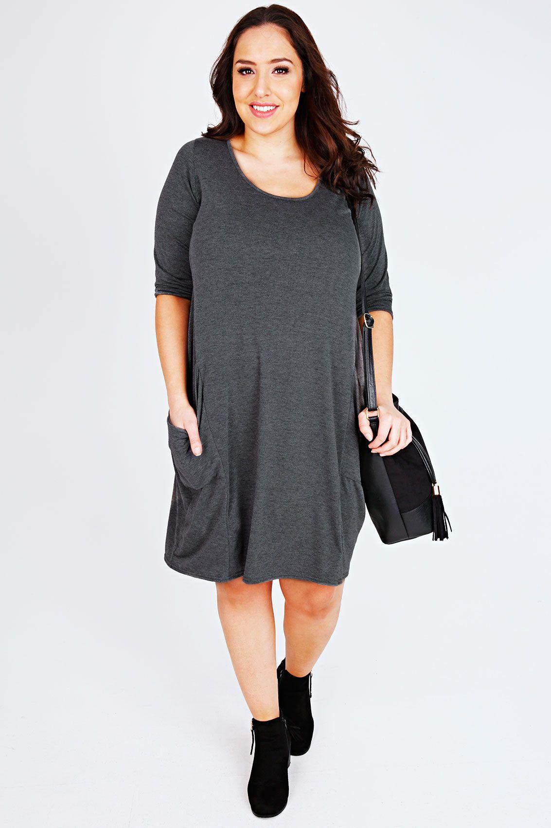 16e42fd247 Charcoal Drape Pocket Half Sleeve Swing Dresses
