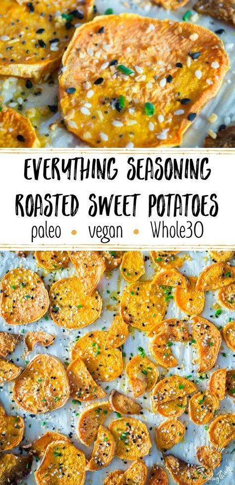 Everything Seasoning Roasted Sweet Potatoes #chickensidedishes