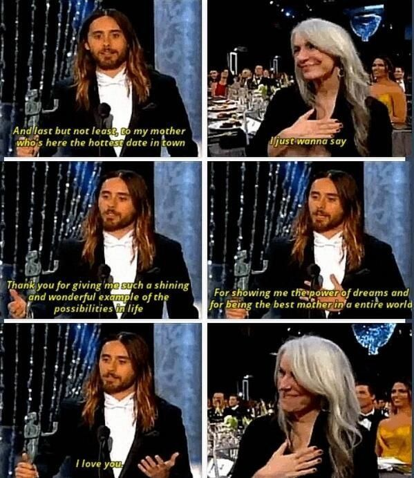 Jared's shout out to his mother Constance during his acceptance speech for Best Supporting Actor at SAG Awards 1/18/1