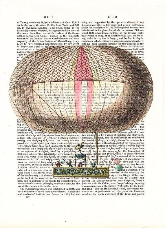 Vintage Hot Air Balloon Print Parc de StCloud Art by FabFunky, $10.00