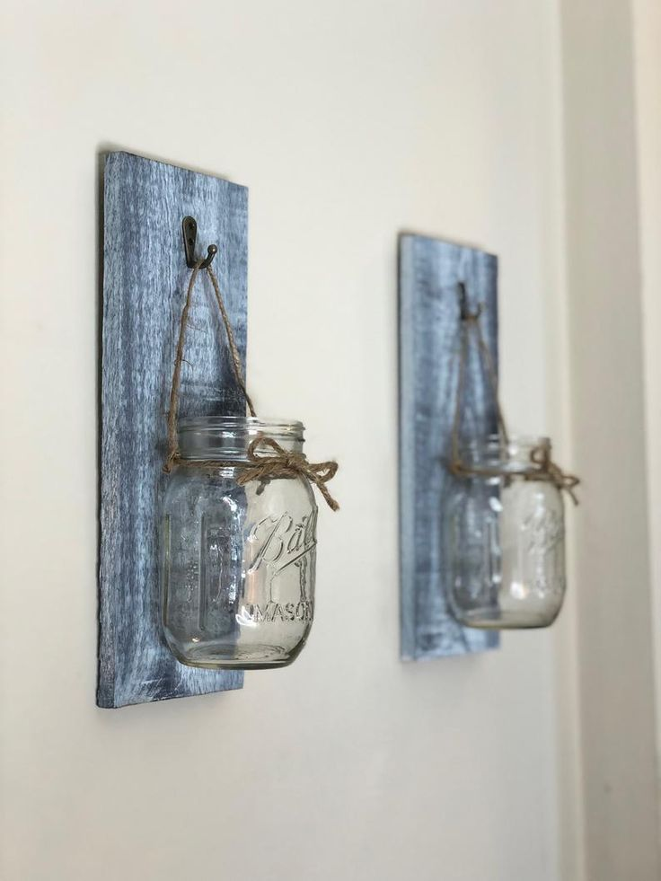 Set of 2 mason jar lantern, Lantern, Entryway decor, Wall Scones, bathroom wall decor, living... #decorationentree