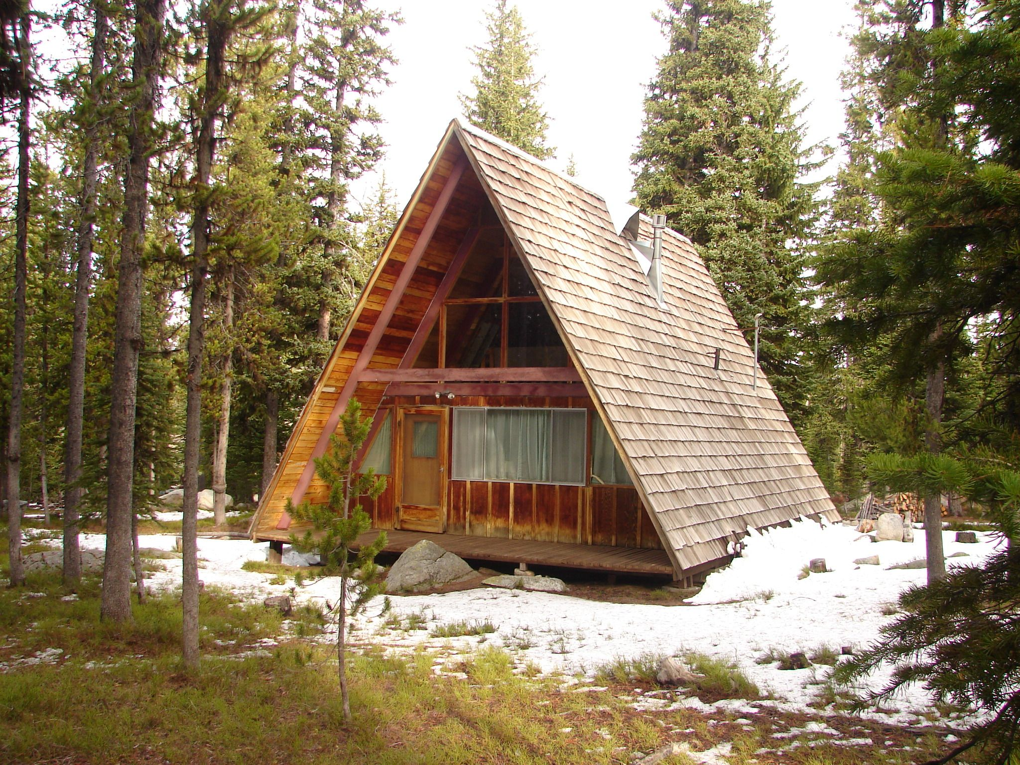 Wooden A-frame cabin the the forest at Anthony Lake | A-Frame Houses ...