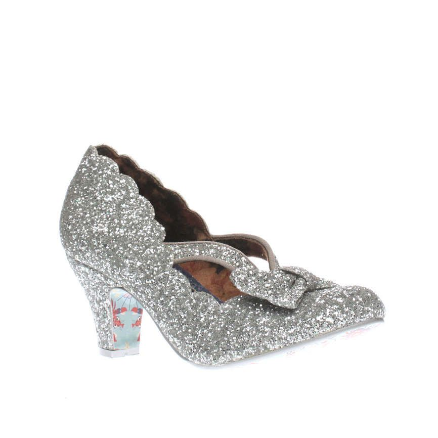 Womens Silver Irregular Choice Final Bow Glitter Low Heels
