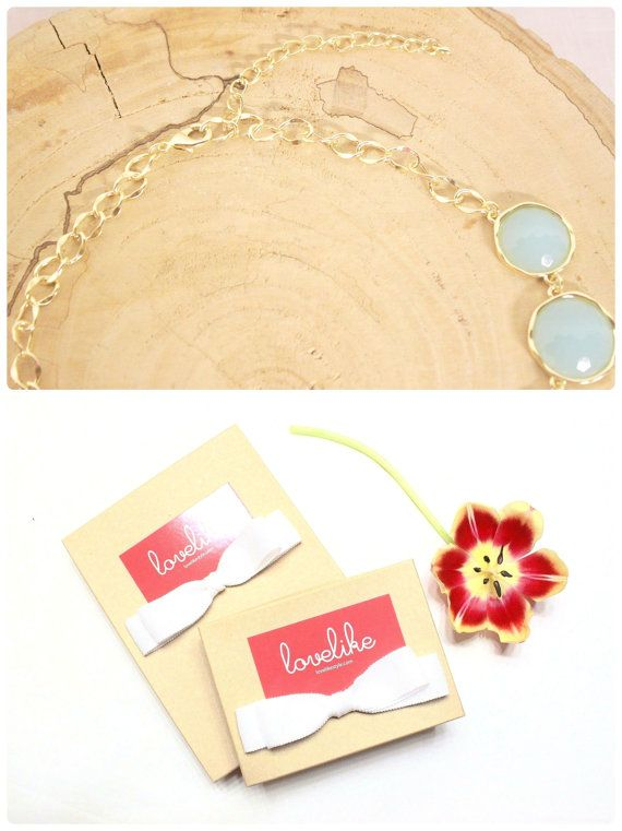 Mint Color Stone Gold Chain Statement Necklace  by lovelikestyle, $22.00