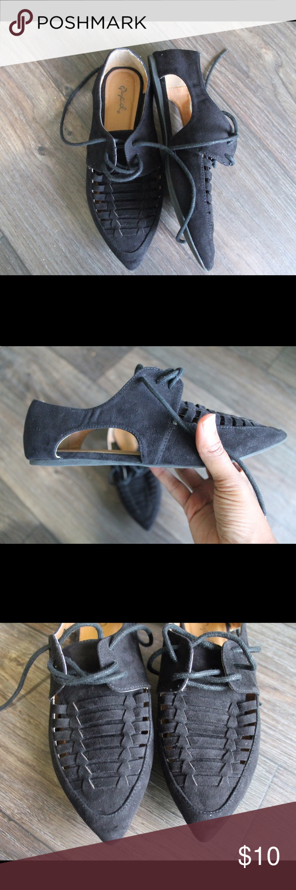 Cut out flats Tomboy cut out lace up flats. Super cute cute details on the sides. Wear them with dress pants, some jeans or with a dress. Only worn once. Shoes Flats & Loafers