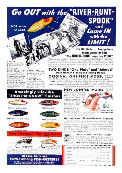 oldfishingphotos:Heddon River-Runt Spook Print Ad, 1938Source: swager375 on eBay