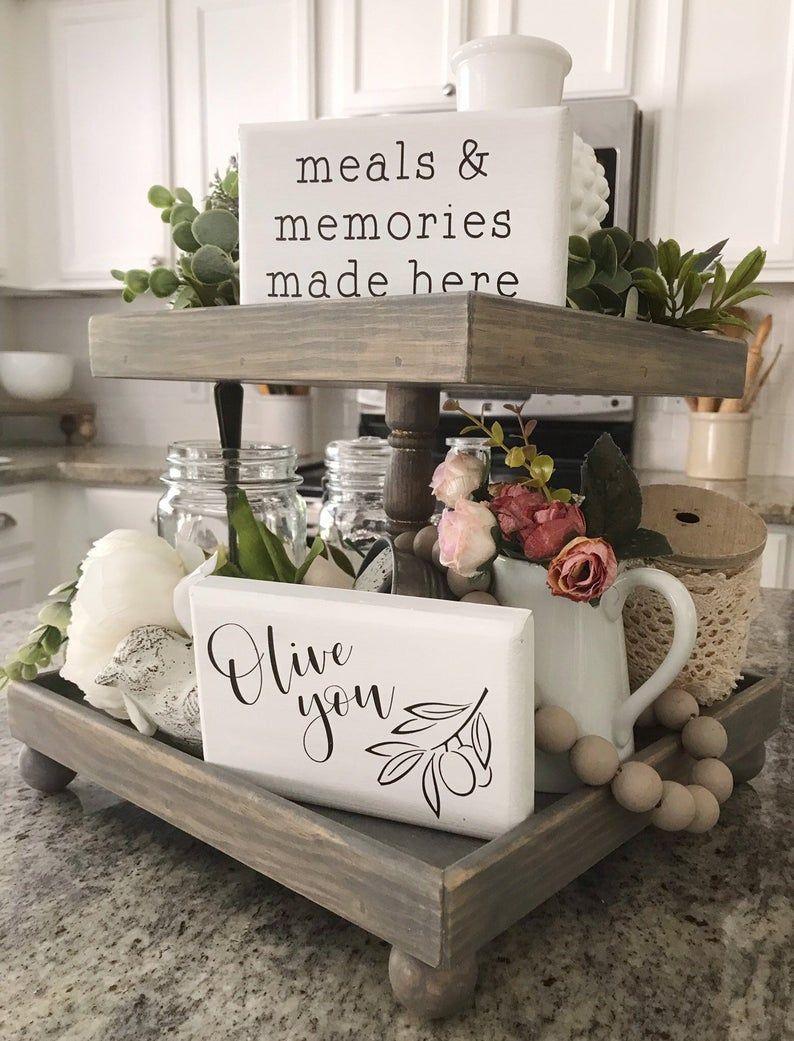 April Karschner On Instagram Having A Tray On The Counter Keeps Kitchen Esse Kitchen Desk Organization Elegant Kitchens Kitchen Table Decor