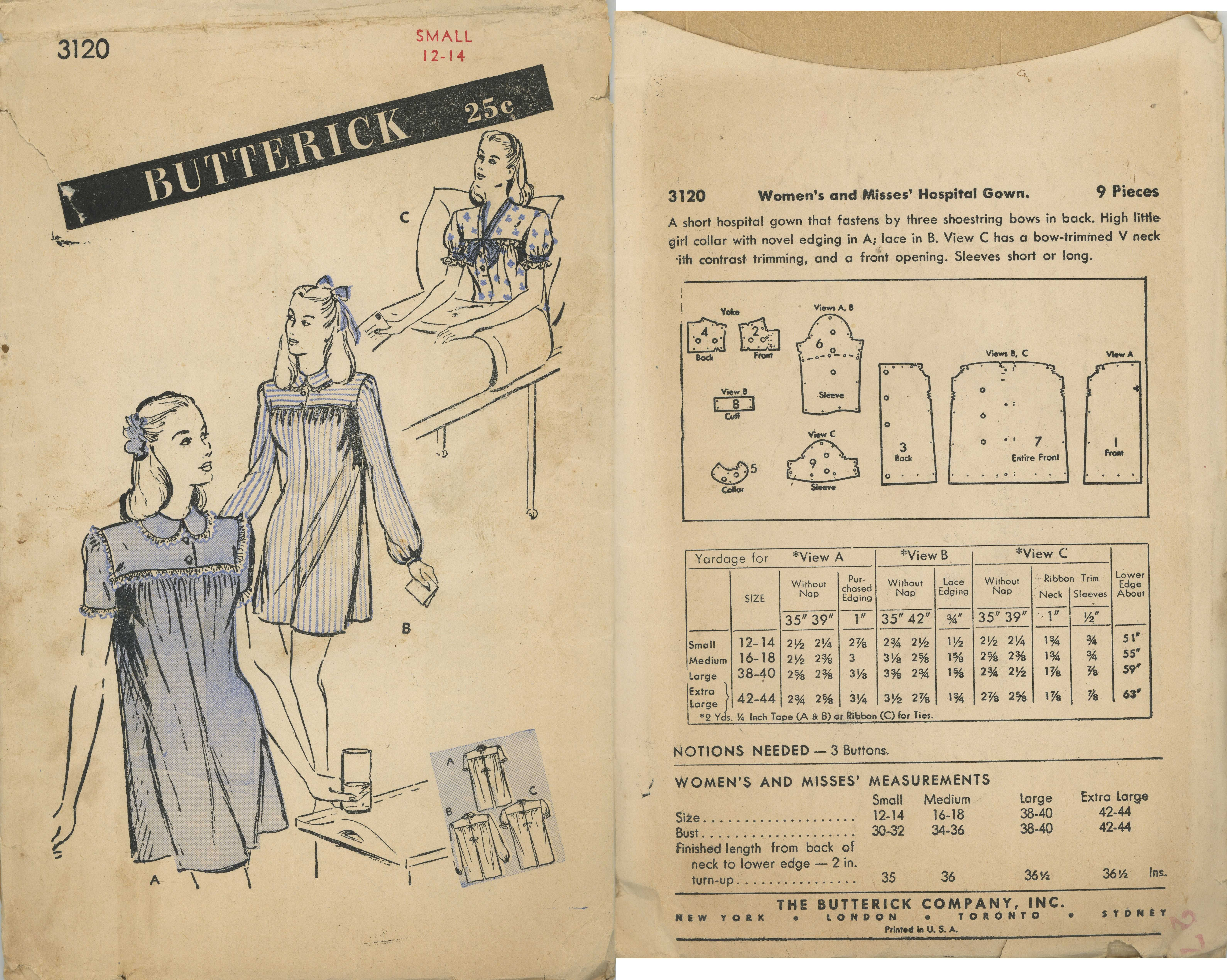 1940s () Women\'s and Misses\' Hospital Gown Butterick 3120 | Sewing ...