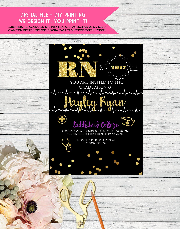 RN Graduation Party invitation- Change Wording - DIY Printing ...