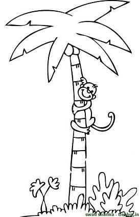 Trees Coloring Page Tree Coloring Page Monkey Coloring Pages