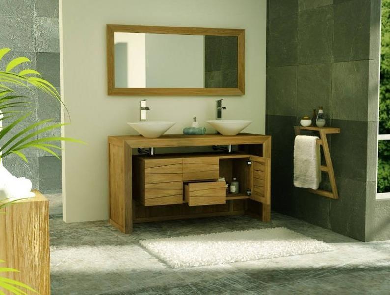 Bathroom Teak Furniture Sentani 2 Drawers 150 Cm En 2020 Avec Images Meuble Salle De Bain Meubles En Teck Salle De Bain Teck