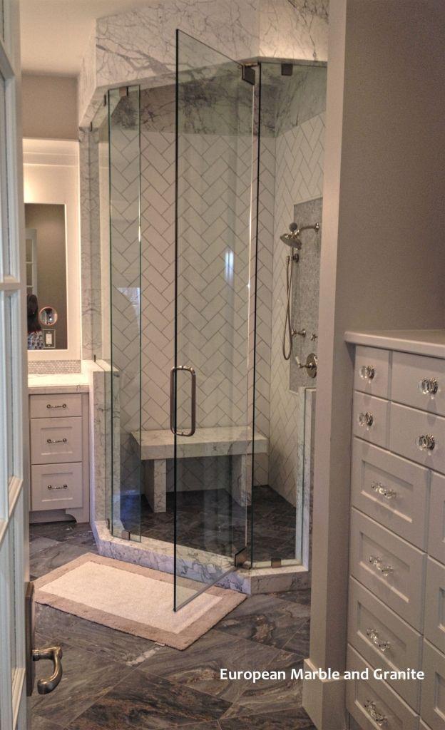 Thos Carrara And Statuary Marble Slab Shower Designed Installed By European Granite In Salt Lake City Utah