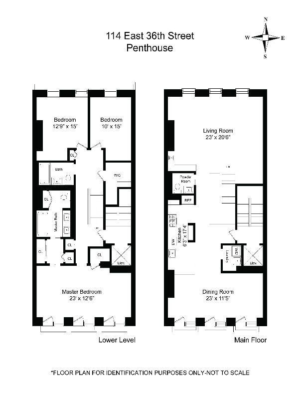 floorplan of a new york brownstone penthouse apartment | house