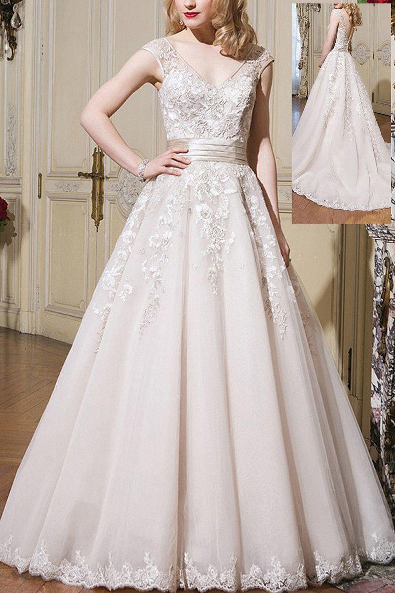 Glorious Chapel Train Ball Gown Vneck Buttons Wedding