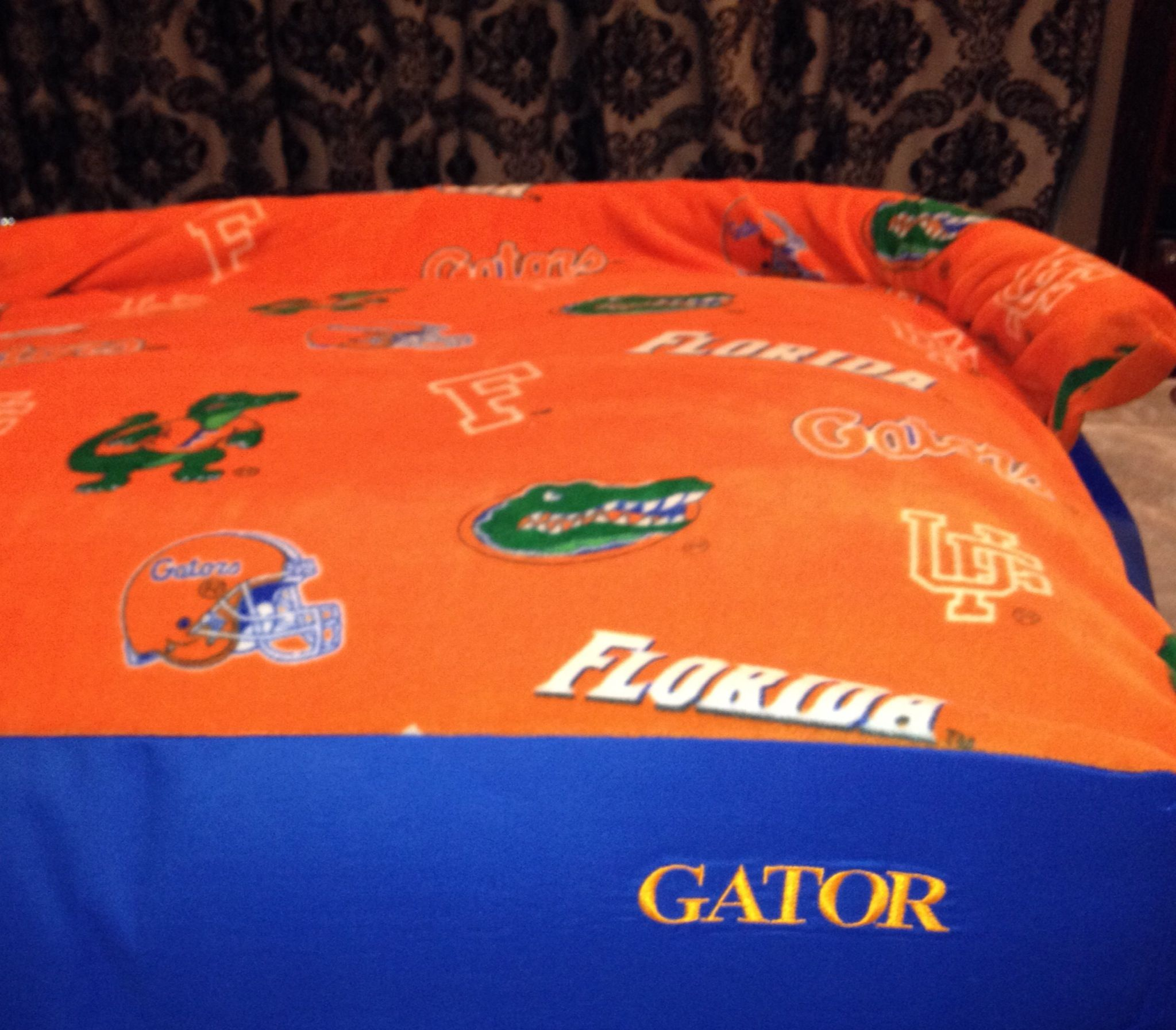 "Proto type: Bolstered Florida Gators dog-bed, Large (xtra thick) 36""L X 23""W X 7""D  personalized with dogs name (embroidered)  Handmade by Studio 210 Embroidery etc."