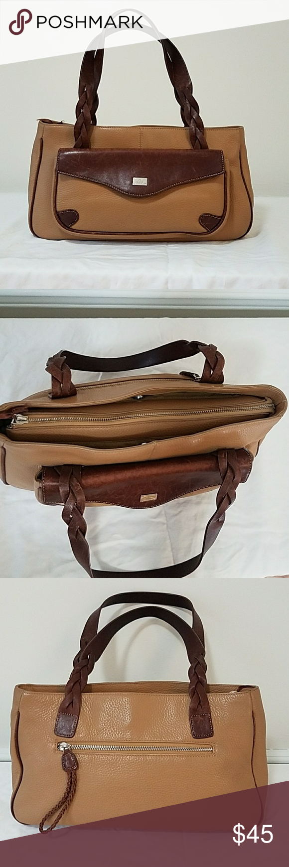 abb51e9c54 GILLIAN Elegant Italian leather Satchel TAN pebbled leather and Brown  Leather Satchel with braided straps.