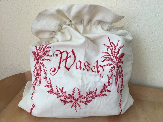 Vintage Embroidered Cotton Laundry Bag Drawstring Laundry
