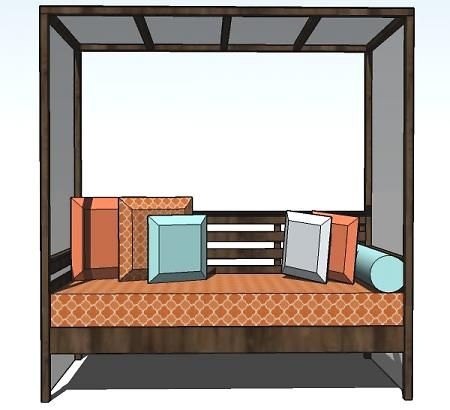weekend diy project outdoor daybed with canopy crafty projects pinterest g rten. Black Bedroom Furniture Sets. Home Design Ideas
