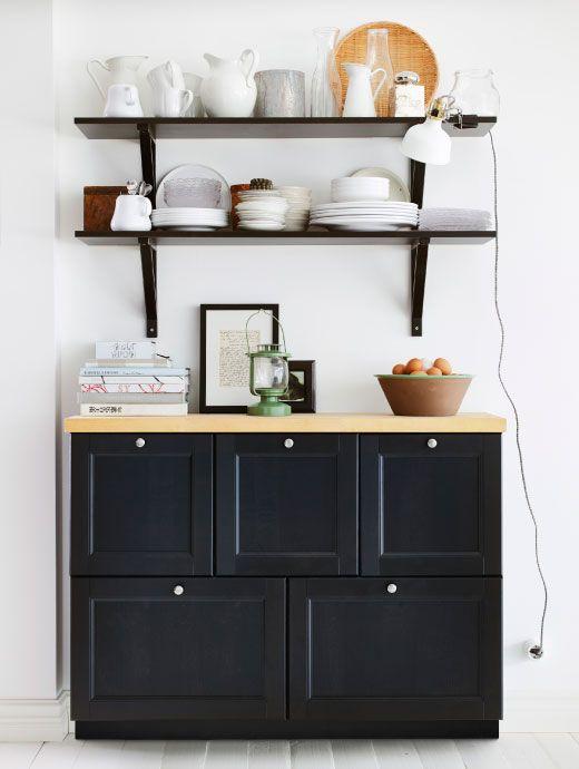 armario bajo de pared con cajones encimera de madera y. Black Bedroom Furniture Sets. Home Design Ideas