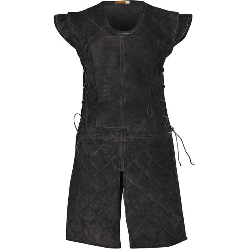 Brandon Suede Tabard - buy for $150.00 on Medieval Collectibles. Any clever foot soldier knows the importance of a great base for their ensemble. It is a good idea to protect against bruises and rubbing. Available in two colors and three sizes, this suede tabard is knee length to protect the wearer. The quilted pattern and light lining allow for better mobility. Additional fabric reinforces the chest for the demands of a cuirass or chainmail. It slips on over the head and adjusts a bit with