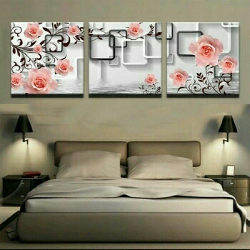 Decorative Pink Rose 3 Piece Canvas Wall Decor