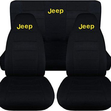 Jeep Wrangler TJ 1997 To 2006 Black Seat Covers With Jeep  Black With Yellow Full Set 14 Colors Available 0