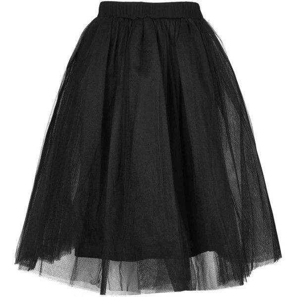 Layered Tutu Midi Skirt by Rare (195 BRL) ❤ liked on Polyvore featuring skirts, black, tutu skirts, ballerina tutu, mesh skirt, topshop skirt and topshop