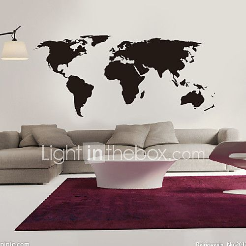 Map wall stickers big global world map atlas vinyl washable wall decals gumiabroncs Choice Image