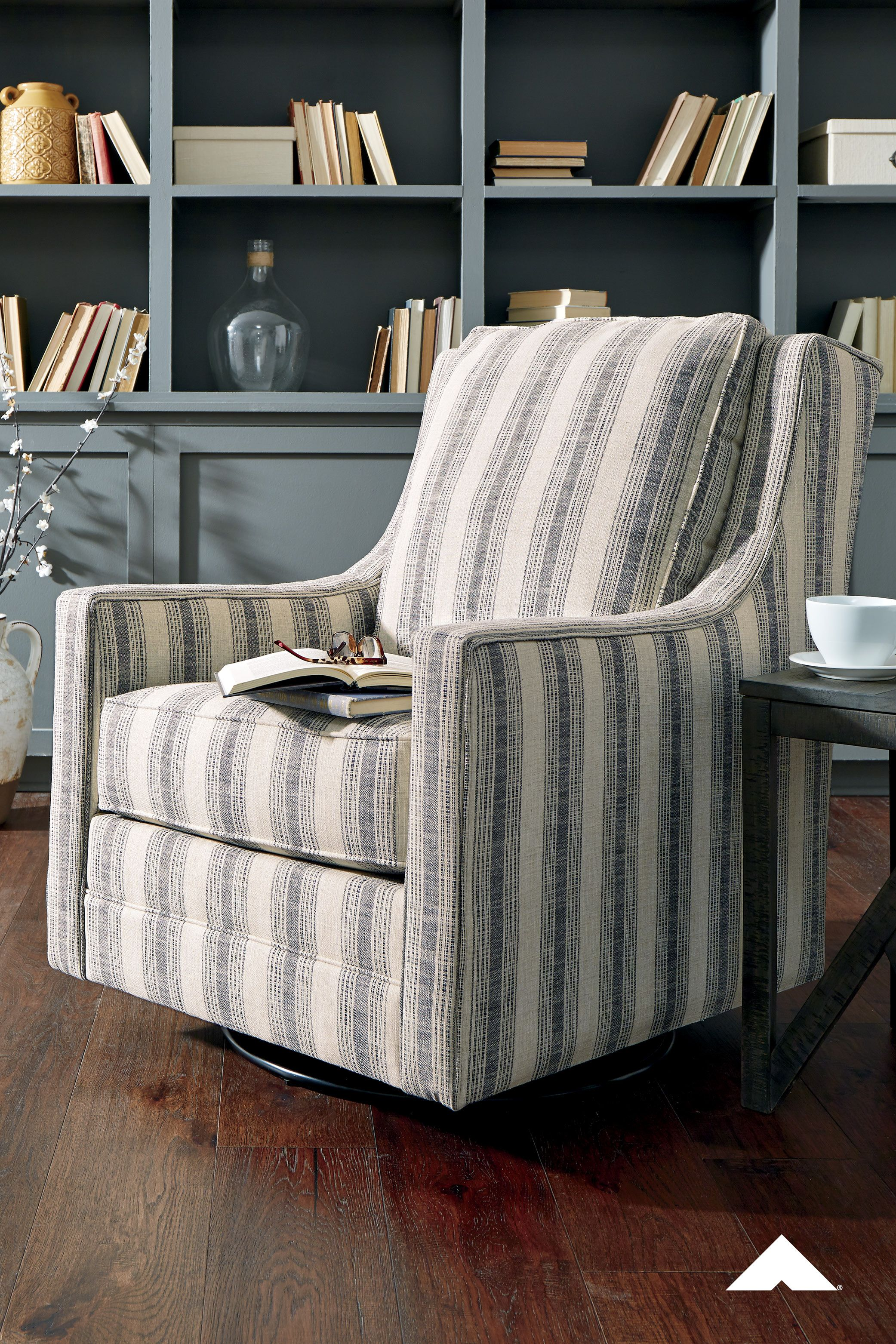 Kambria Ivory Black Swivel Glider Accent Chair By Ashley Furniture Crisp And Cool But In 2020 Accent Chairs For Living Room Pattern Accent Chair Stripe Accent Chair