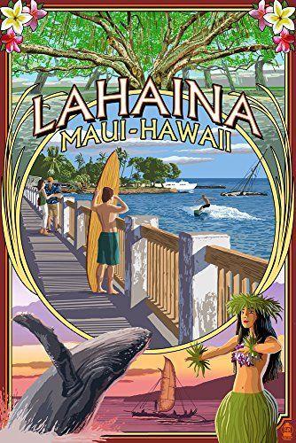 Lahaina Maui Hawaii Town Scenes Montage 12x18 Art Print Wall Decor Travel Poster