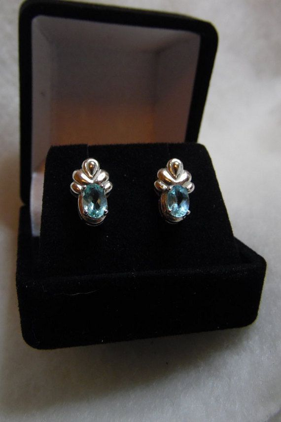Paraiba Tourmaline Earrings. Two 6 x 4 mm ovals.  Beautiful Brazilian Blue…