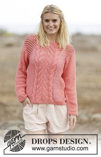 """Sweet Peach - Knitted DROPS jumper with lace pattern and cables in """"Paris"""". Size: S - XXXL. - Free pattern by DROPS Design"""