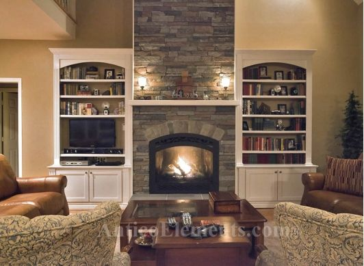 Stone Fireplace With Cabinets And Shelving On Each Side