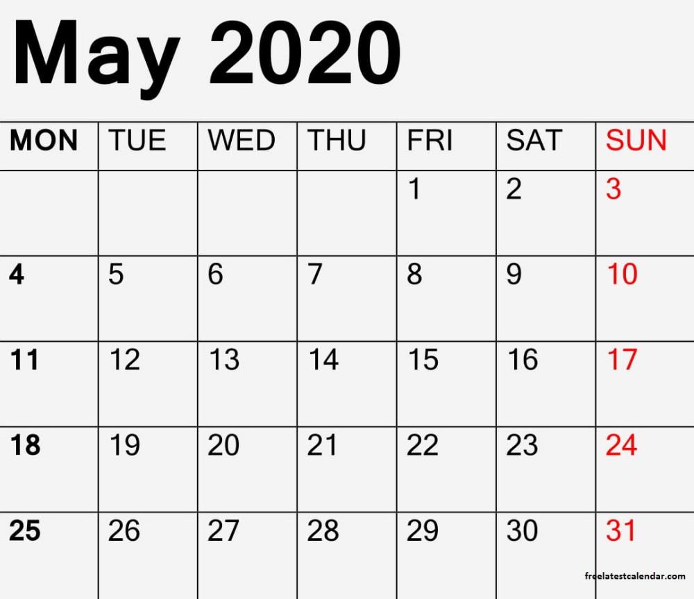 May 2020 Printable Calendar Blank Month Sheet In 2020