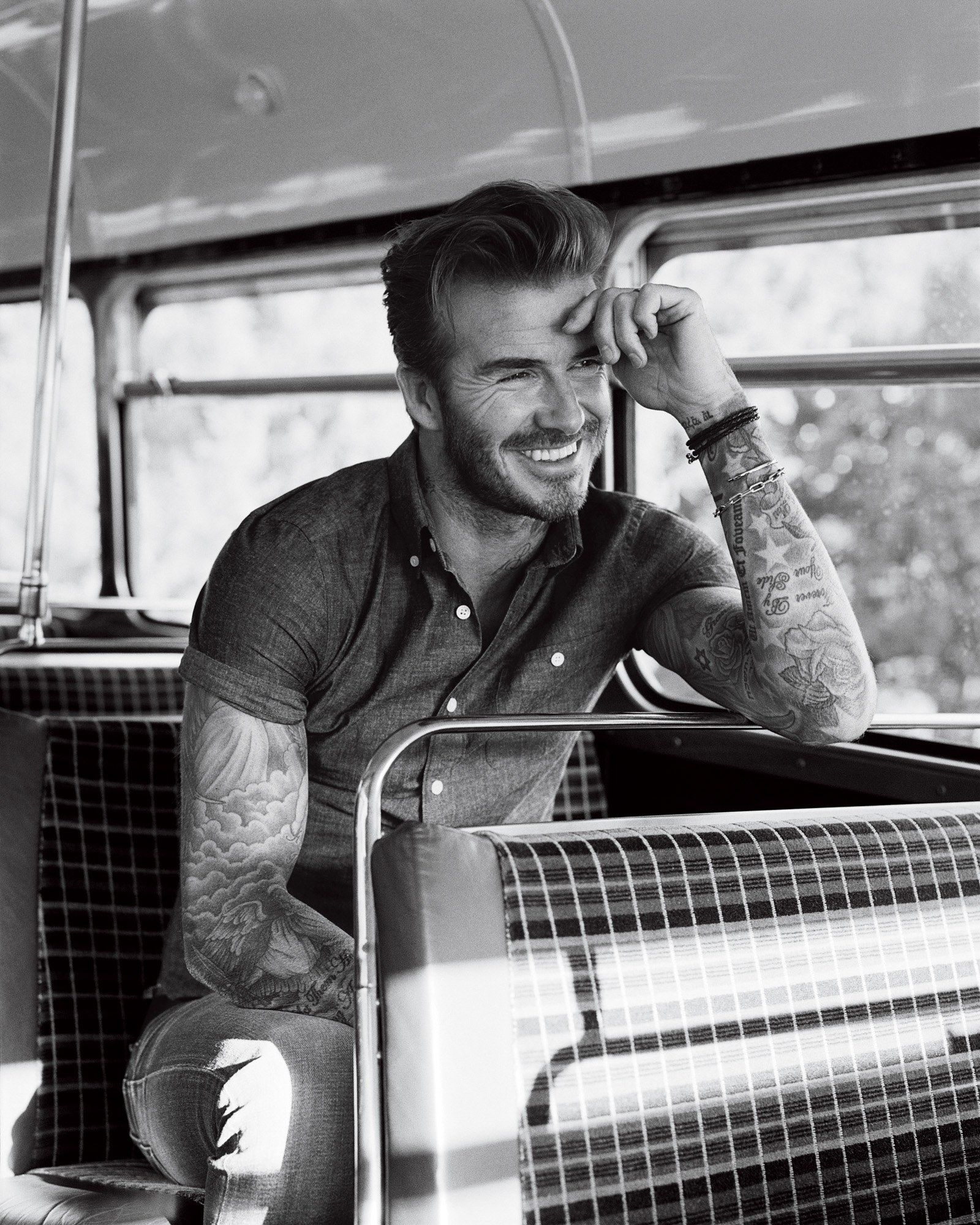 David Beckham. Short sleeve chambray shirt and chinos.