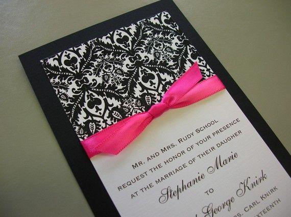 Royal Damask Black White and Hot Pink Damask Wedding Invitation – Black and White Damask Wedding Invitations
