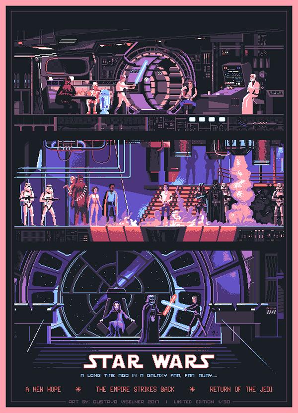 Star Wars Original Trilogy Poster Starwars Starwarsart Pixelart Pixel Jedi Lukeskywalker Star Wars Poster Star Wars Trilogy Alternative Movie Posters