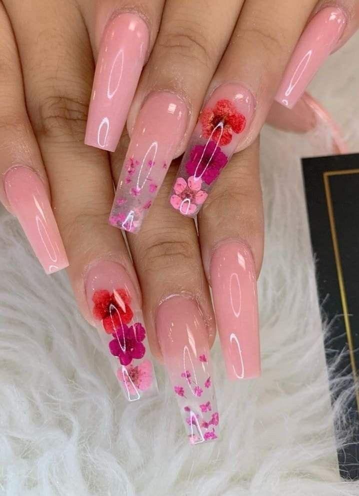 Langa Nageldesigner Vatten Pink Acrylic Nails Long Acrylic Nails Long Nail Designs