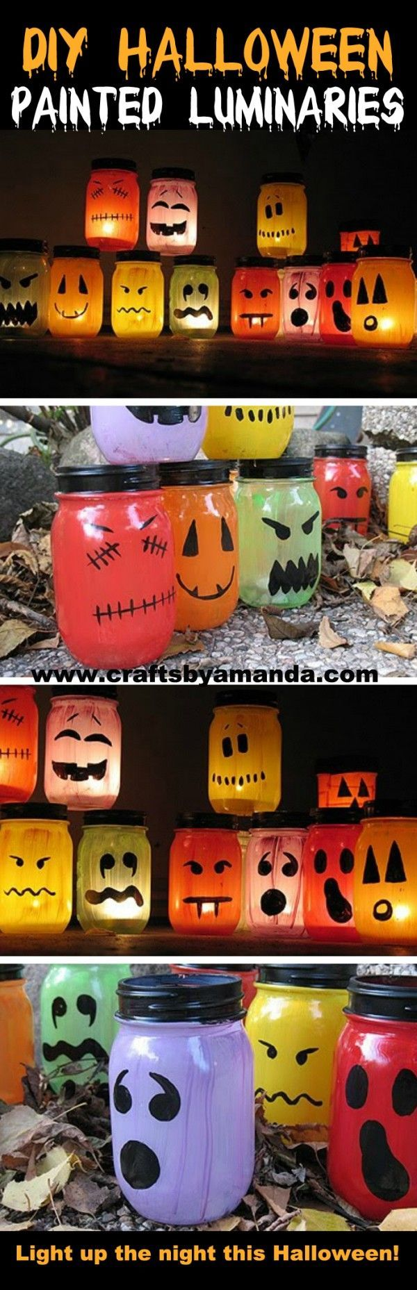Halloween Painted Jar Luminaries Recipe Tutorials, Face and Craft - cute homemade halloween decorations