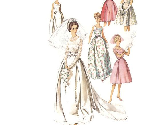 Vintage 1960s Sewing Pattern Wedding Dress with by FriskyScissors ...