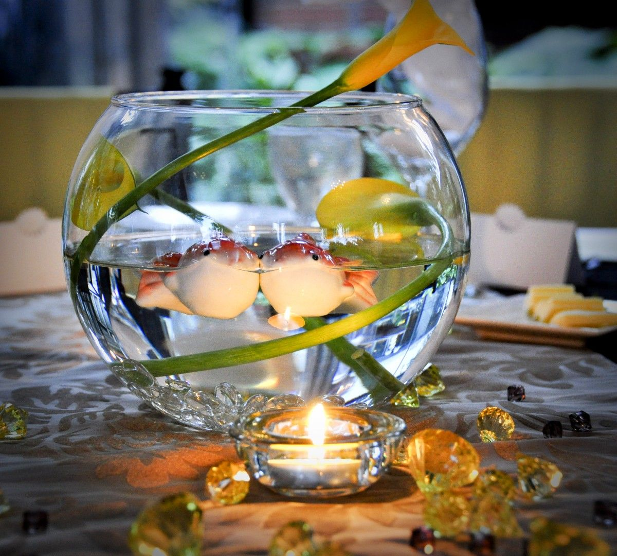 Fish bowl centerpiece fishing themed wedding ideas